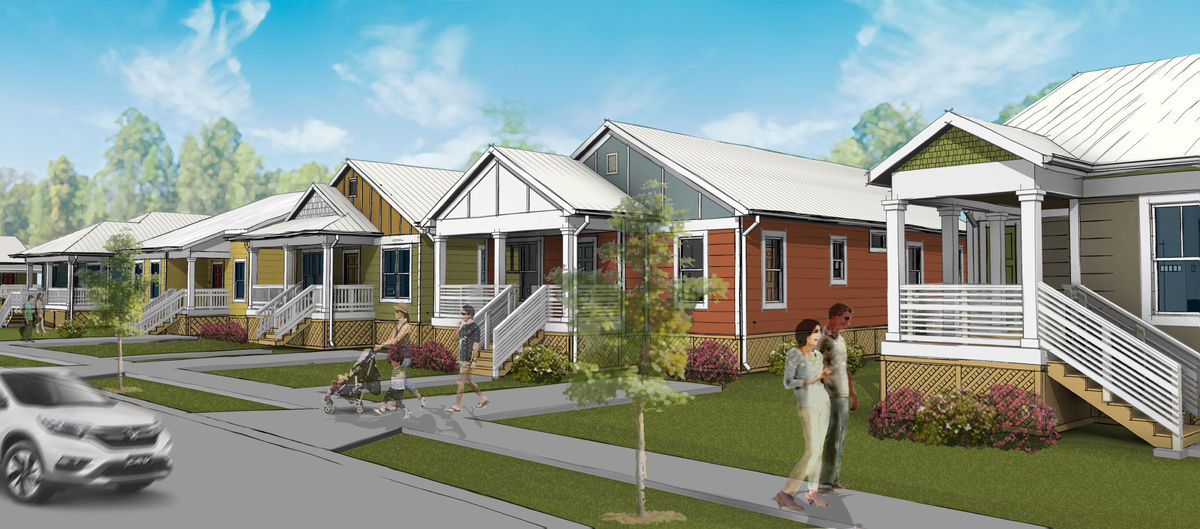 Of the 25 single-family homes in the Cottages at Mile Branch, depicted in this rendering, 13 will be set aside for veterans and their families.
